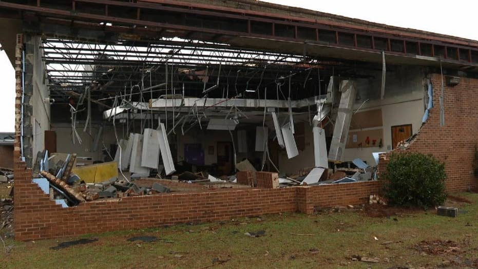 Tornado leaves extensive damage to South Carolina school making it look like a 'war zone'