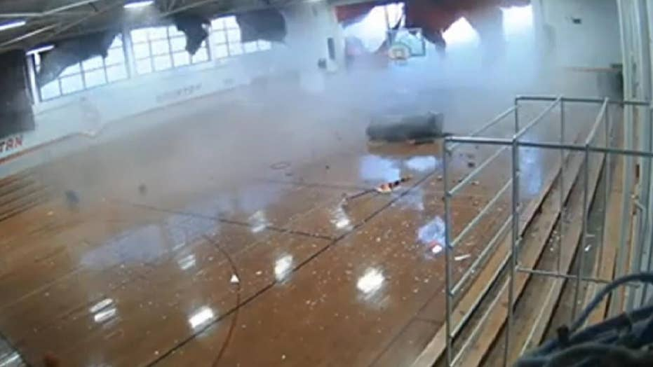 Strong storm blows roof off school injuring students in North Carolina