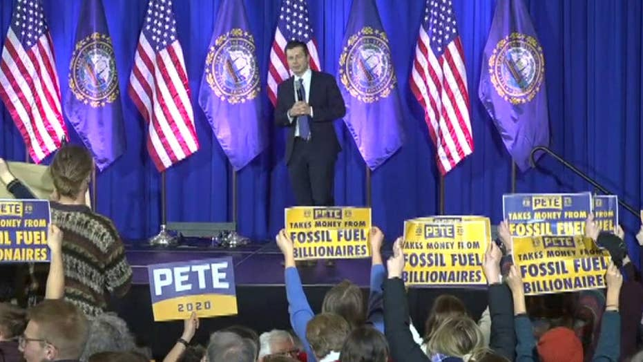 Pete Buttigieg reacts to dozens of protesters at New Hampshire town hall