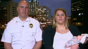 Late firefighter's newborn has moving photo shoot with her dad's firehouse brothers