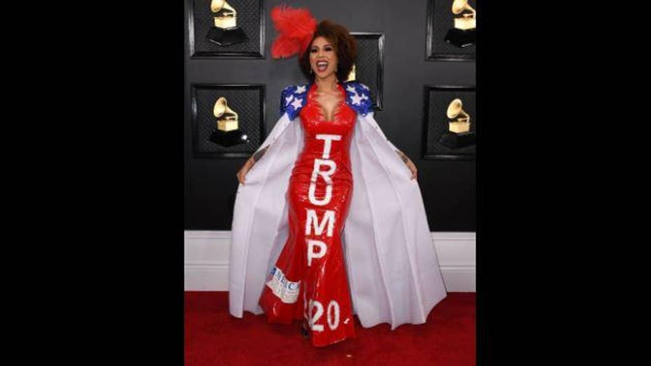 Joy Villa arrives at the Grammy Awards wearing a gown in support of Trump's 2020 re-election