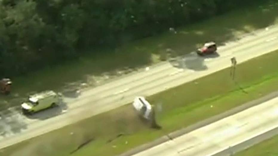 Van flips off road during dramatic police chase in Florida