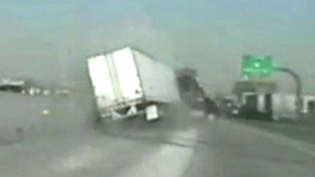 Moment of impact: state trooper dodges death