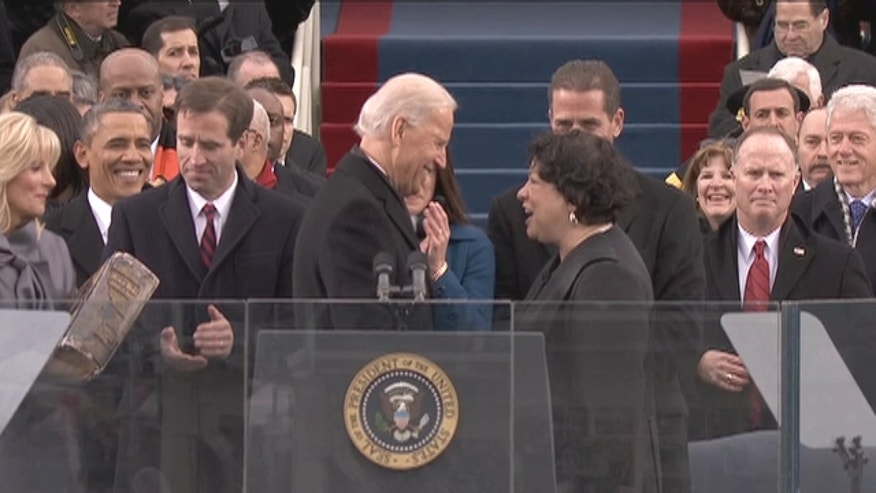 Sonia Sotomayor becomes first Hispanic to administer an oath of office.
