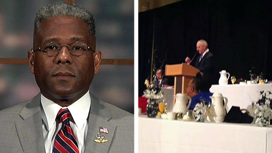 Former congressman Allen West on Obama's former pastor resurfacing with more inflammatory remarks, the Pentagon relaxing rules on religious garb and facial hair and the record number of households on foodstamps