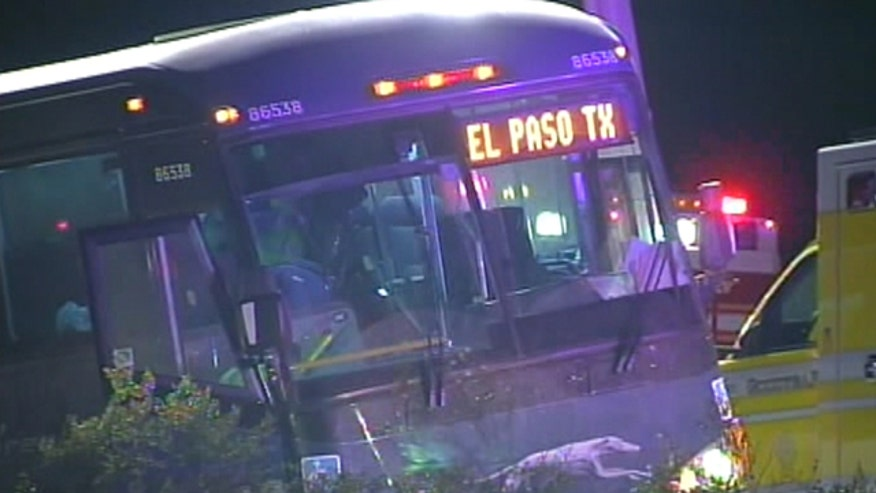 Bus was traveling from Los Angeles to Dallas when man grabbed the steering wheel