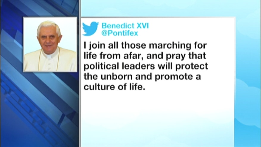 Pope Benedict XVI tweets his support for March For Life.