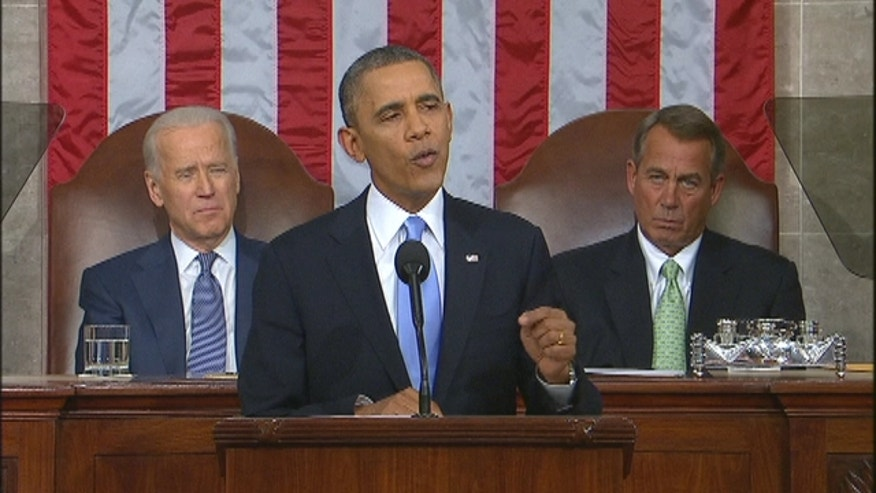 President Barack Obama talks about immigration reform during his State of the Union address.