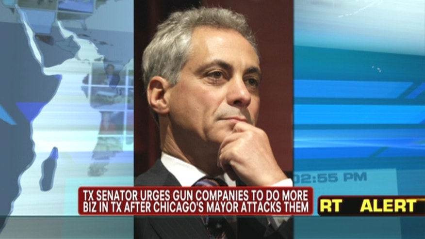 Senator Ted Cruz urges gun companies to do more biz in Texas after Chicago Mayor attacks them.