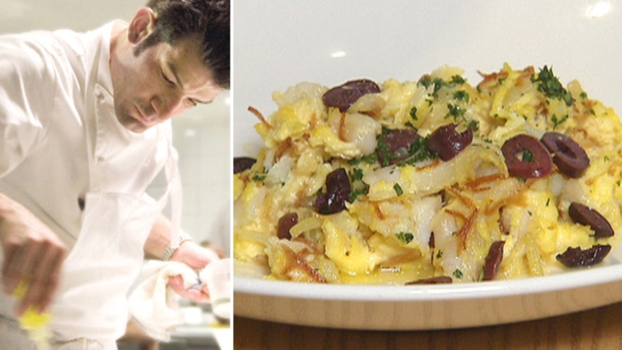 Chef shows off a dish that celebrates his heritage: cod with scrambled eggs