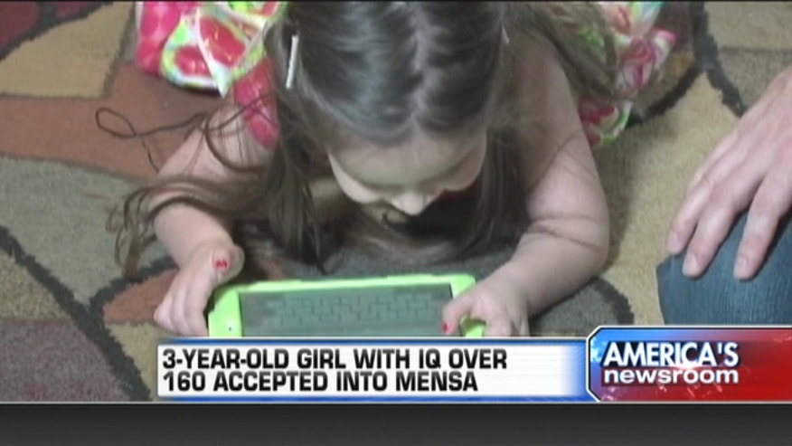 A three-year-old girl has become the youngest person in Arizona to be accepted in Mensa, an international club with members of high IQ status.