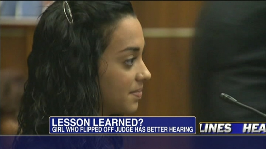 Girl who flipped off judge has a better hearing.