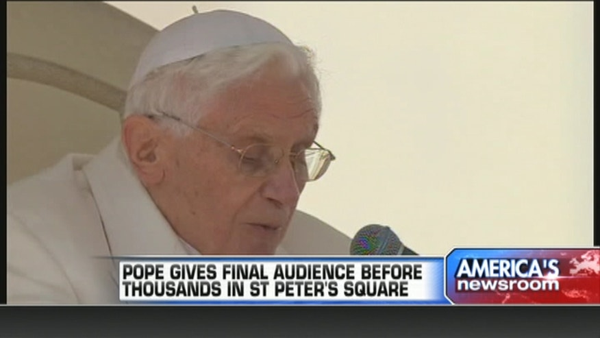 Pope Benedict XVI gives final audience before thousands in Saint Peter's Square.