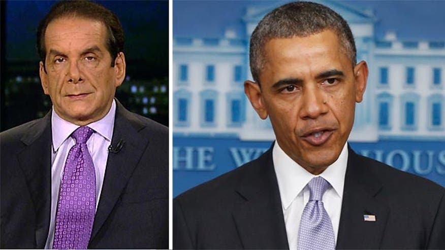 "Charles Krauthammer told viewers Friday that President Obama's statement on the latest Ukraine developments late Friday afternoon showed ""weakness"" and implied that ""we're not really going to do anything"" about the political upheaval in Ukraine."