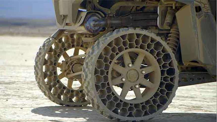 Polaris introducing puncture-resistan Non-Pneumatic Tires for ATVs next year.