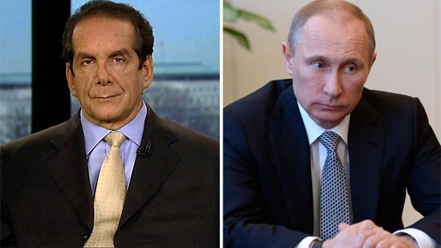 "Charles Krauthammer told viewers Monday that the fight for the Crimean region of Ukraine has basically been lost to Russian president Vladimir Putin, but that the United States must ""make it plain that he's got to stop where he is."""