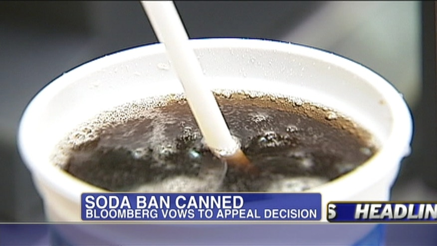 A New York state judge overturned the city's ban on large sugary soft drinks, a big setback for the Big Apple's mayor, Michael Bloomberg.