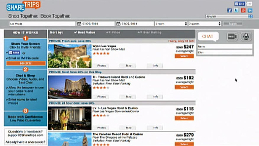 ShareTrips lets you share your screen with friends while you pick the right hotel for a group getaway