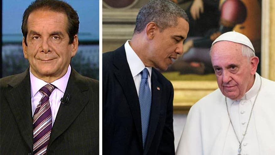 Syndicated columnist Charles Krauthammer said Thursday people can choose to believe President Obama's version of what happened at his meeting with Pope Francis earlier in the day, or a different option offered by the Vatican.
