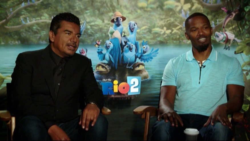 """Rio 2"" actors Jamie Foxx and George Lopez get one look at Michael Tammero's fancy footwear and immediately begin belting out an original tune."