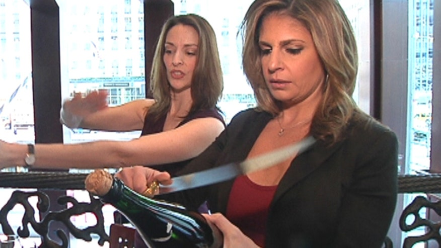 Tracy Byrnes tests her skills at sabering a Champagne bottle with a sword. Master of wine,Jennifer Simonetti-Bryan shows her how, after talking about what food to pair with bubbles and what to expect when ordering a sparkling wine in a restaurant.