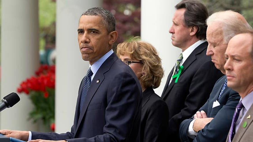 Obama fires blanks in first test of second term clout, gun control debate and worries mount on implementing health law