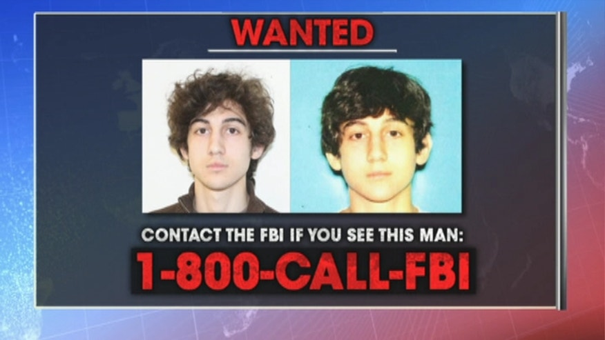 Police search for at large suspect #2 Dzhokhar Tsarnaev, 19, after his brother, suspect #1, dies in a firefight.
