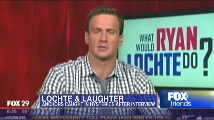 """Ryan Lochte recount of his reality show """"What Would Ryan Lochte Do?"""" makes news anchor laugh."""