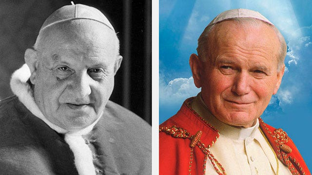 Pope Francis makes history with dual canonization of Pope John XXIII, Pope John Paul II