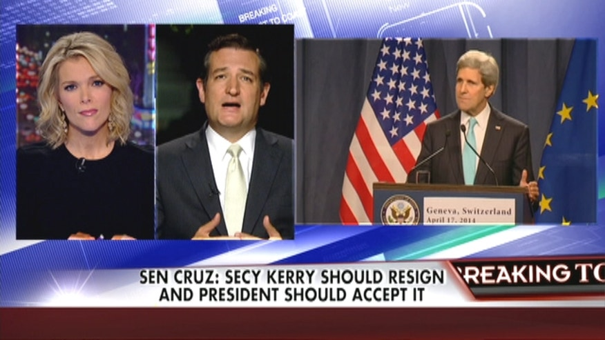 "Sen. Ted Cruz has called for the resignation of Secretary of State John Kerry over reportedly telling world leaders that Israel could become an ""apartheid state."""