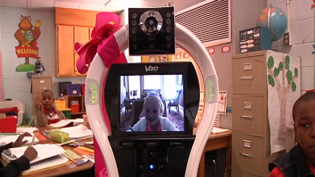 Robot goes to school in place of homebound students