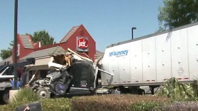 Big rig slams into Jack in the Box drive-thru