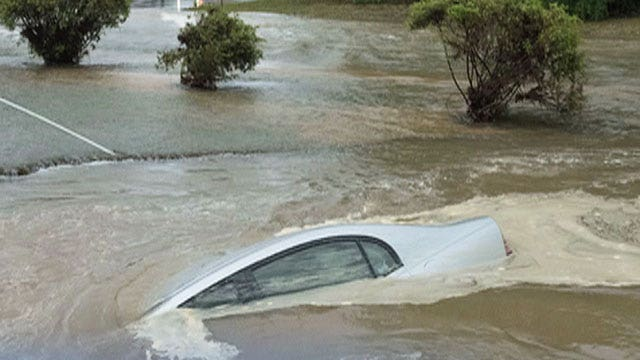 Massive storm turns roads into raging rivers