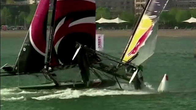 Catamarans collide during extreme race