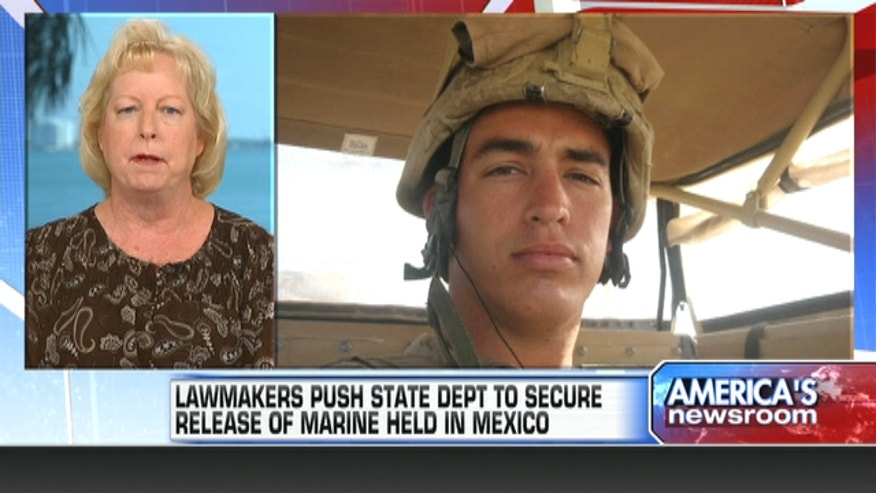The mother of the US marine held in a Mexican prison says his son feels much more hopeful after hearing of the efforts to bring him back.