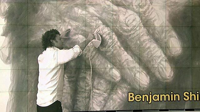 Benjamin Shine creates art out of fabric, clothing iron