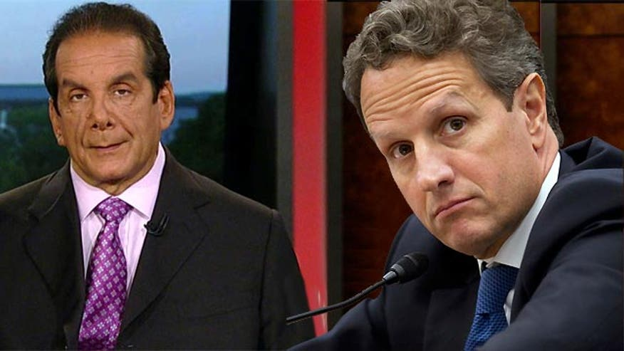 "Charles Krauthammer told viewers Monday on 'Special Report with Bret Baier' that a moment recounted in former Treasury Secretary Tim Geithner's new memoir shows that the Obama administration has a ""less than arm's length relationship with the truth."""
