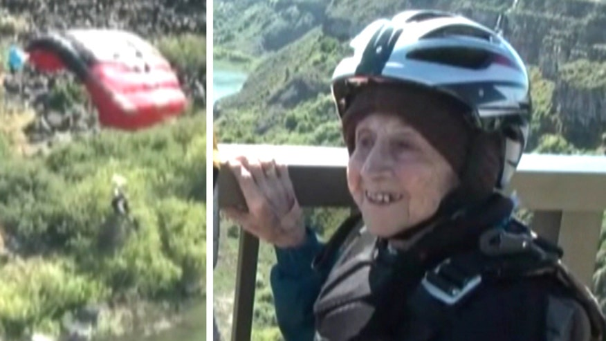 Raw video: Thrill-seeking woman base jumps off Idaho bridge