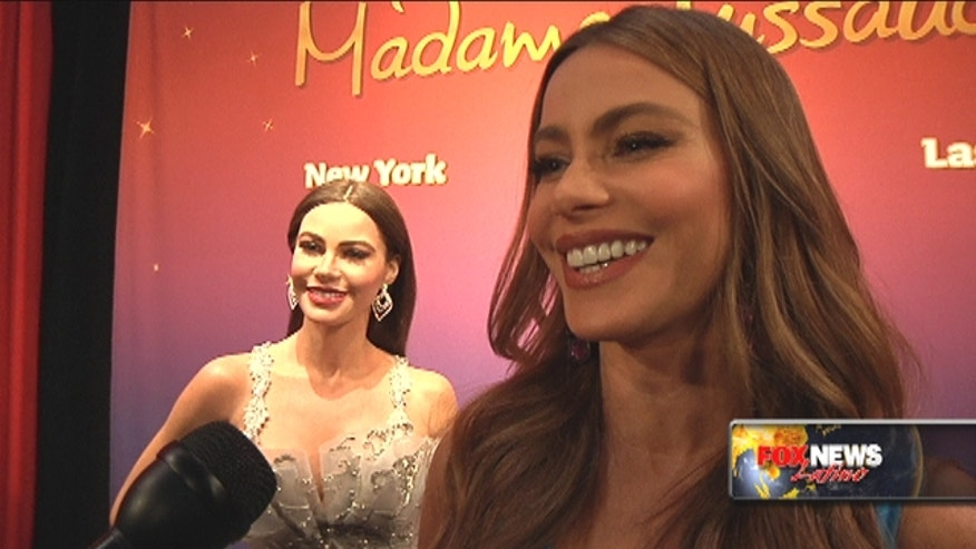 Colombian Sofia Vergara helped unveil her two lifelike wax figures that will be displayed at the popular Madame Tussauds wax museums in New York City and Las Vegas.