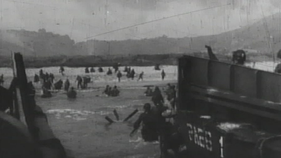 A look at newsreel footage of the Normandy landings