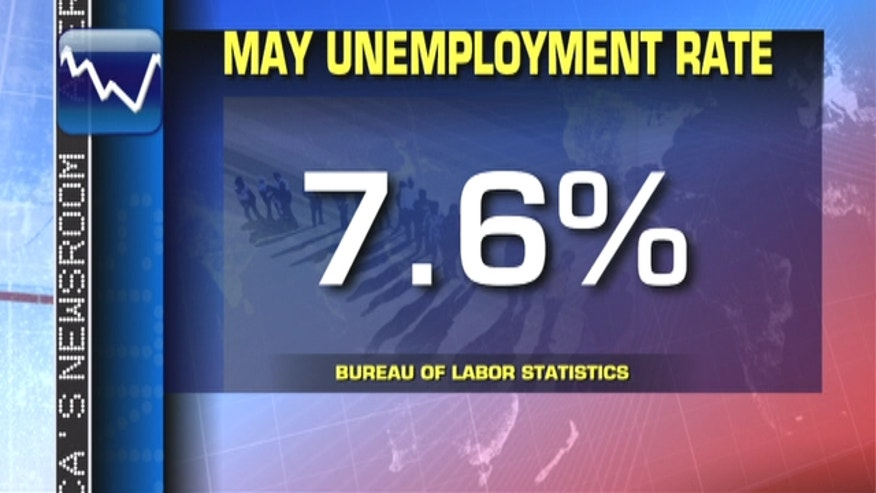 The U.S. economy added 175,000 jobs in May. The unemployment rate rose to 7.6 percent from 7.5 percent in April, the Labor Department said.