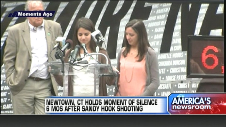 Newtown, CT holds moment of silence 6 months after Sandy Hook shooting.