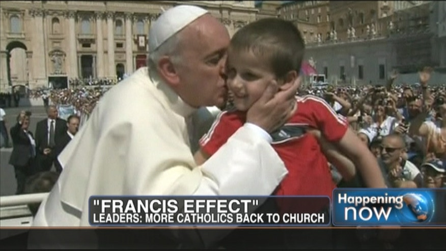 It's been called the Francis Effect. As Pope Francis celebrates his first 100 days, Catholic leaders say they have anecdotal evidence that Pope Francis is bringing the faithful back to the church.
