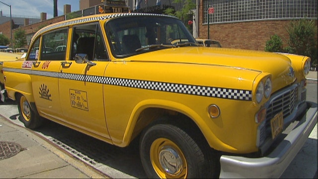 Checkered cars on display this weekend in New York City