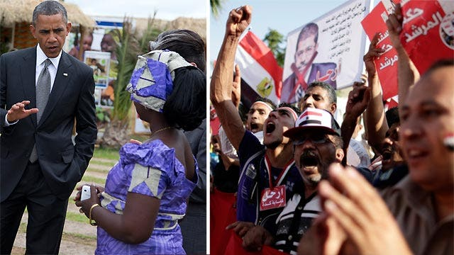President travels in Africa as violence heats up in Egypt
