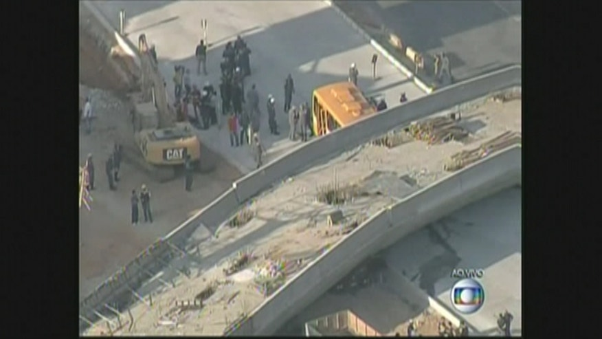 An overpass in Brazil that was part of the World Cup infrastructure plan has collapsed onto vehicles below.