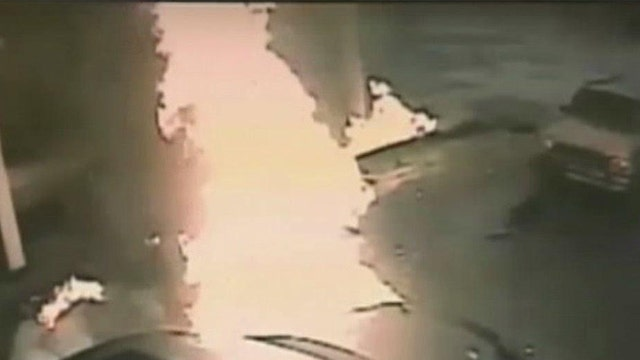 Car plows into gas station triggering explosion