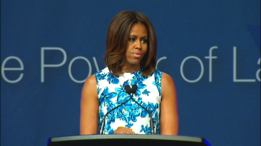 Michelle Obama speaking at the annual convention of the League of United Latin American Citizens, or LULAC, in New York City.