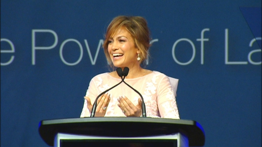 Jennifer Lopez speaking at the annual convention of the League of United Latin American Citizens, or LULAC, in New York City.