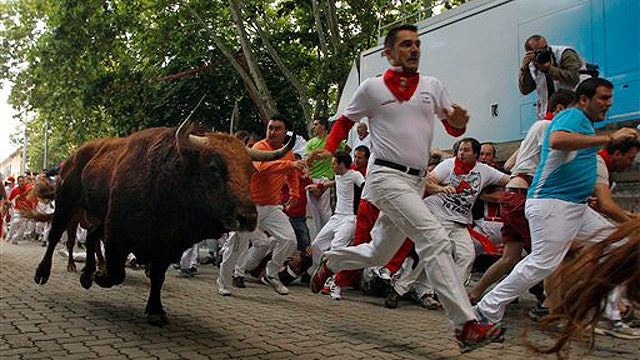 Man crushed, severely injured during running of the bulls
